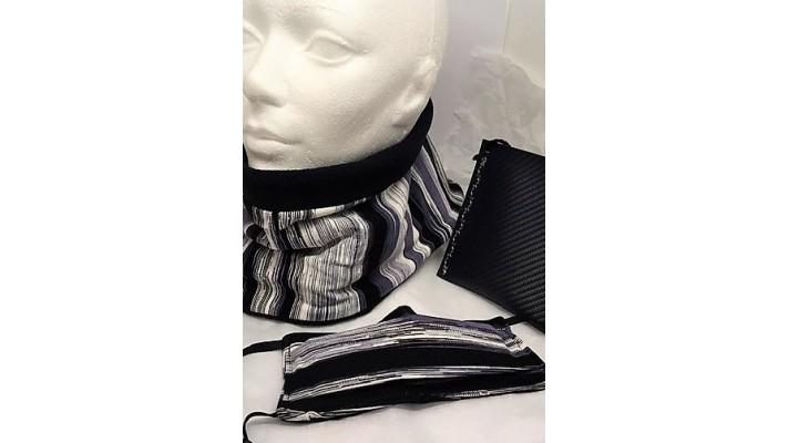 Cache-cou et couvre-visage Noir gris blanc Rayé