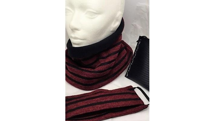 Cache-cou et couvre-visage Bourgogne et noir Rayé