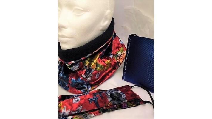 Cache-cou et couvre-visage Gris chatoyant - Fleurs colorées