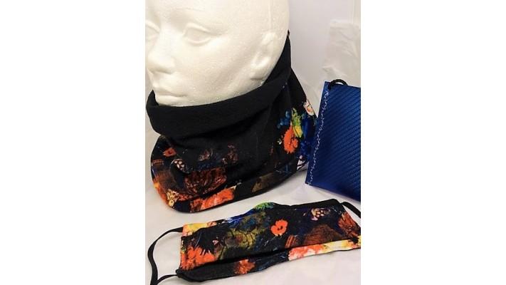 Cache-cou et couvre-visage Noir - Fleurs bleues et oranges