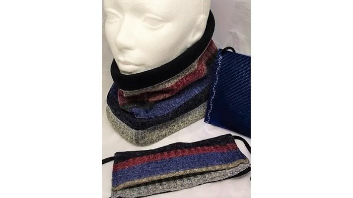 Cache-cou et couvre-visage Bleu rouge rose gris noir Rayé
