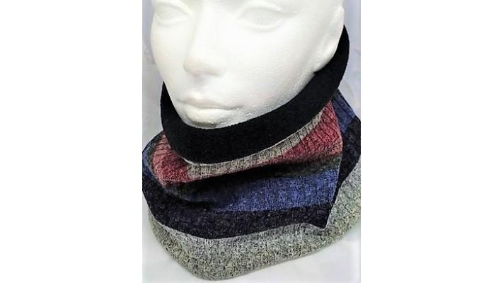 Cache-cou Bleu rouge rose gris noir Rayé