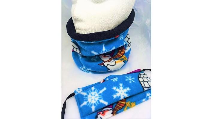 Cache-cou et couvre-visage Bleu avec flocons bancs et pingouins skieurs