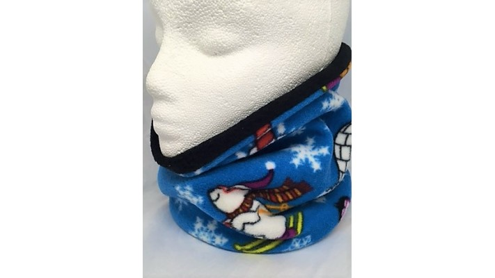 Cache-cou Bleu avec flocons blancs et pingouins skieurs