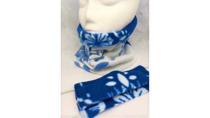 Cache-cou et couvre-visage Bleu et blanc avec flocons