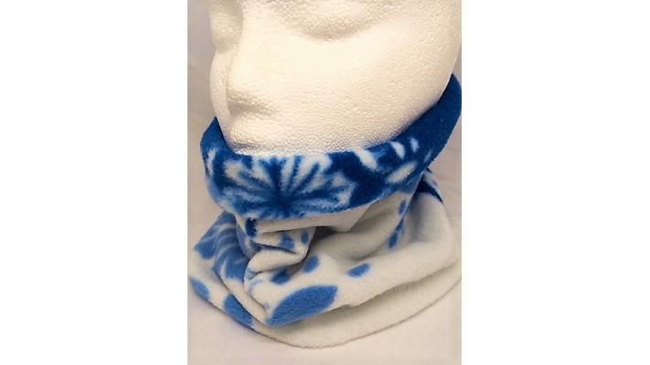 Cache-cou Bleu et blanc avec flocons