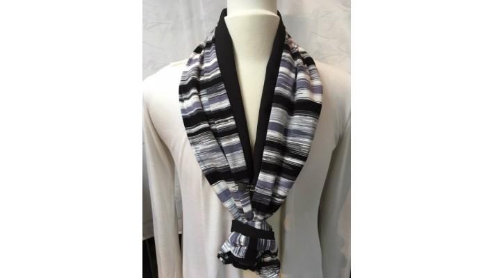 Foulard Noir gris blanc - Rayé