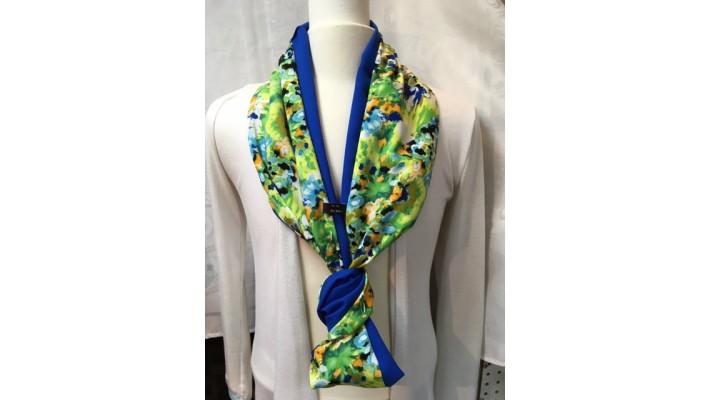 Foulard Vert jaune blanc bleu