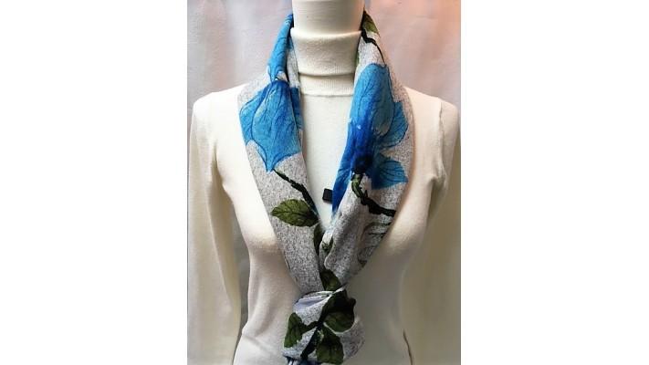 Foulard Bleu gris vert - Fleurs bleues