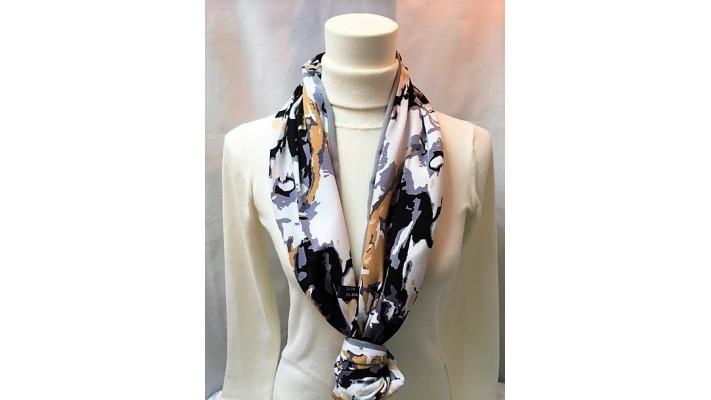 Foulard Beige gris noir blanc - Imprimé