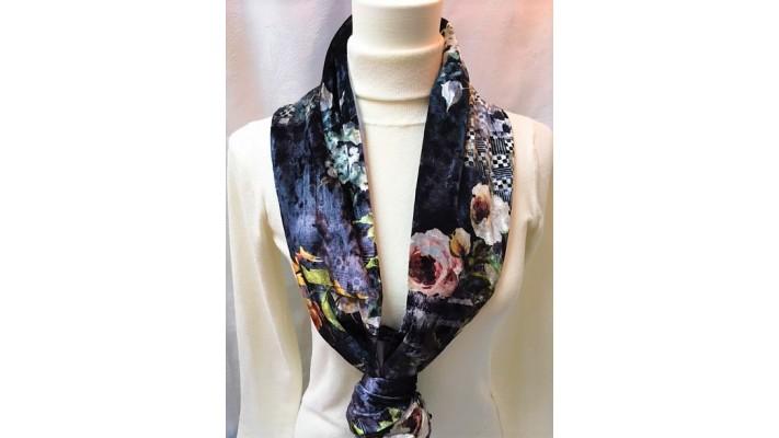 Foulard Noir et gris chatoyant - Fleurs colorées