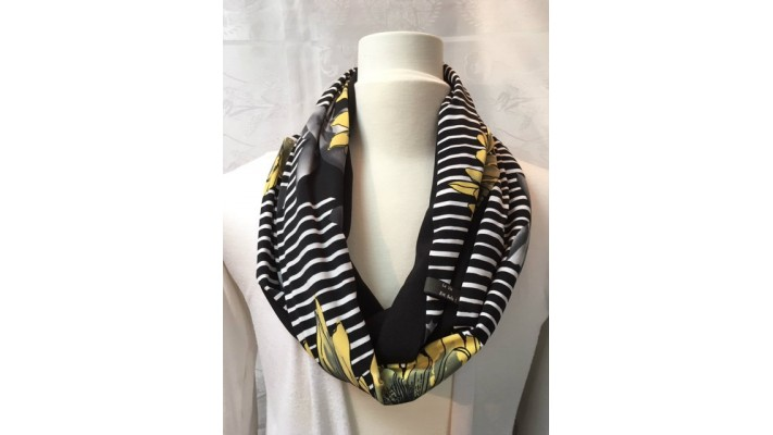 Foulard Noir et blanc Rayé - Fleurs jaunes