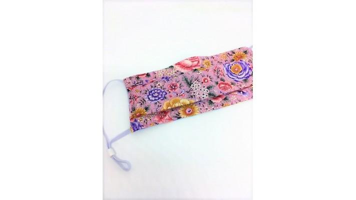Masque / Couvre-visage Rose et Fleurs multicolores