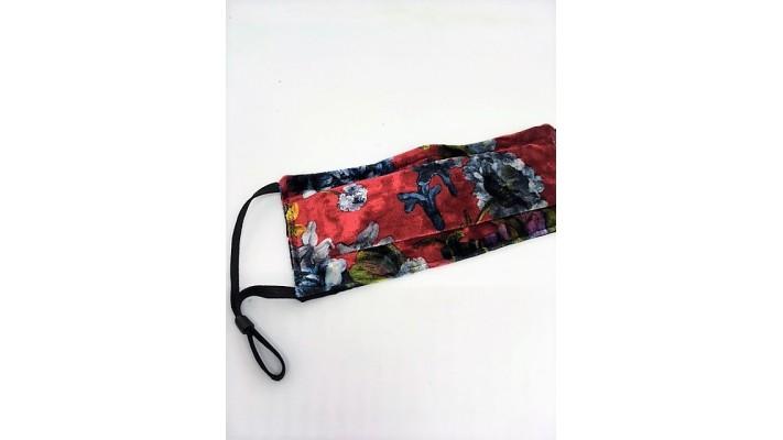 Masque / Couvre-visage Rouge Gris chatoyant - Fleurs colorées