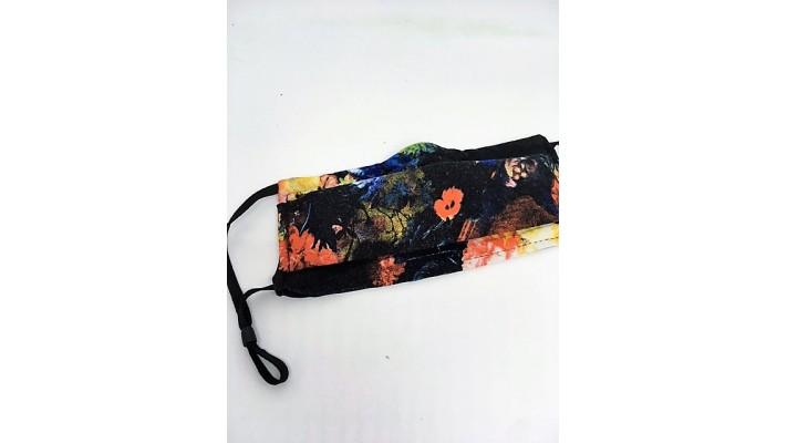 Masque / Couvre-visage Noir - Fleurs bleues et oranges